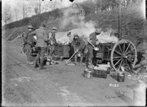 New Zealand cooks prepare a meal for troops in the trenches, World War I