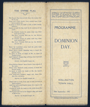Dominion Day. Wellington Town Hall, 26th September 1907. Programme. [Cover of silk programme].
