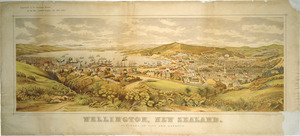 Cockerell, E. A. :Wellington, New Zealand. Panorama of city and harbour. Lithographed at the New Zealand Graphic and Star Printing Works; from a painting by E A Cockerell. [Auckland] New Zealand Graphic and Star Printing Works, 1893.