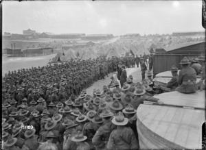 William Massey and Joseph Ward talk to New Zealand troops, Etaples, France