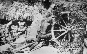 Soldiers firing a cannon, Gallipoli