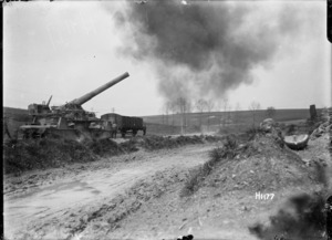 A British 9.2 rail gun in action in Coigneux, France, World War I