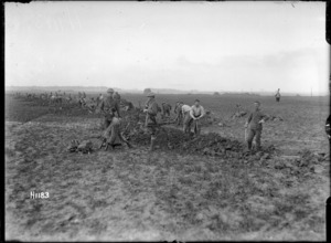 New Zealand troops digging trenches in France, World War I