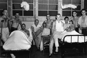Wounded soldiers of the 2nd New Zealand Expeditionary Force in the Pacific at the 4th General Hospital in New Caledonia