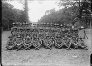 A Wellington Regimental platoon representing New Zealand at a memorial service, World War I