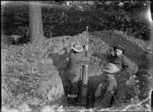 New Zealand soldiers preparing a 6 inch trench mortar near Le Quesnoy, France, during World War I