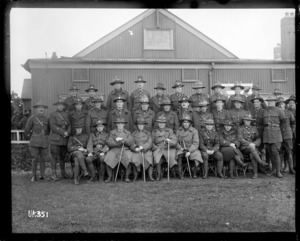 World War I New Zealand officers and men at a military camp in England