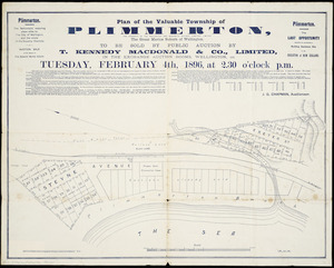 Plan of the valuable township of Plimmerton [cartographic material] : the property of the Wellington and Manawatu Railway Co., the great marine suburb of Wellington : to be sold by public auction.