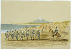 Hamley, Joseph Osbertus, 1820-1911 :[March on the beach between Wanganui and Taranaki. A stroll on the beach, Mount Egmont in the distance after marching all night. Wanganui Campaign. 16 February 1856]