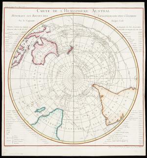 Carte de l'hemisphere austral montrant les routes des navigateurs les plus célebres par le capitaine Jacques Cook [cartographic material] / Benard direxit.