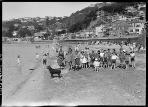Children on the beach, Oriental Bay, Wellington