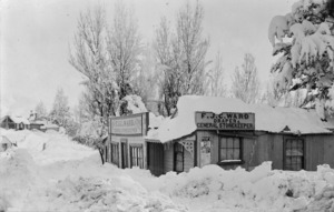 Snow at F J C Ward's general store, St Bathans, Central Otago - Photograph taken by F M Pyle
