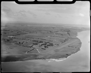 Aerial view of Seagrove Aerodrome, Manukau Harbour, Auckland