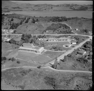 Aerial view of schools at Rawene, Hokianga Harbour