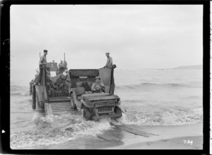 Jeep on a landing craft, Pacific area, during World War II