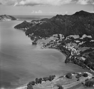 Aerial view of Huia, and Manukau Harbour entrance