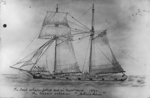 """Munro, John Alexander 1872-1947 :The last whaler fitted out in Auckland 1891. The topsail schooner """"Christine"""". [1900s]."""