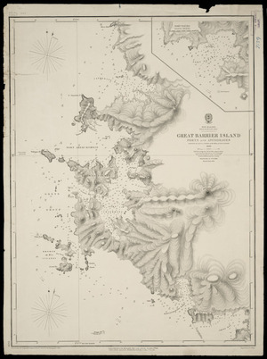 Great Barrier Island ports and anchorages [cartographic material] / surveyed by Captn. J.L. Stokes ... 1849.