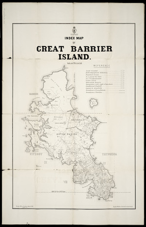 Index map of Great Barrier Island [cartographic material] / Gerhard Mueller, Assistant Surveyor General ; F. Weber, litho.