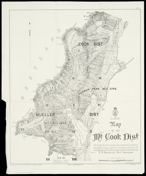 Map of the Mt. Cook Dist. [cartographic material] : shewing the Hermitage accommodation house, mountain ranges, glaciers, tracks, reserves, etc. / T.N. Brodrick, dist. surveyor ; W.A. Styche, del.