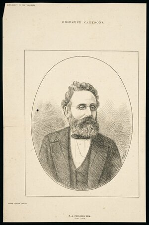 "Palmer, Charles, 1841?-1928 :P A Phillips, Esq., town clerk. Observer cartoons [No. 29]. Supplement to the ""Observer"". Wilson & Horton, Auckland [5 August 1882]"