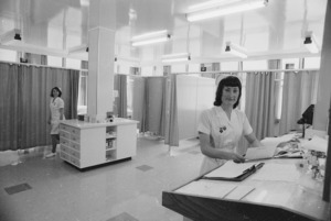 Interior of the new casualty department, Wellington Hospital, Newtown, with Staff Sister Charmaine Duncan at her desk