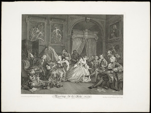 Hogarth, William, 1697-1764 :Marriage a-la-Mode. [The Countess's levee]. Plate IV. Invented, painted & published by Wm Hogarth. Engraved by S Ravenet according to Act of Parliament April 1st 1745.