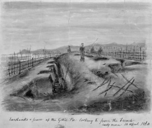 Robley, Horatio Gordon 1840-1930 :Earthworks and fence of the Gate Pa looking east from the breach. Early morn, 30 April, 1864.