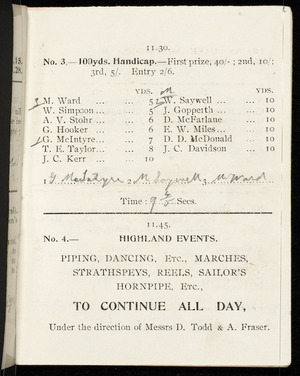 [Inglewood Caledonian Society] :11.30. No. 3 - 100yds handicap - first prize, 40/- ... [1908]