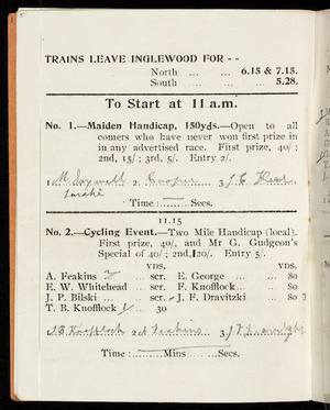 [Inglewood Caledonian Society] :Trains leave Inglewood for north ... 6.15 & 7.15; south ... 5.28 [1908]