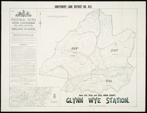 Glynn Wye Station [cartographic material] : Canterbury Land District no. 423, runs 233, 233a and 233b, Amuri County.