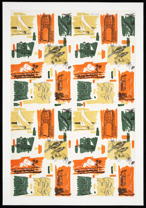 Croxley Stationery Limited :Croxley gift wrapping Ref. R.X. 640 [New Zealand themes and scenes. 1950s?]