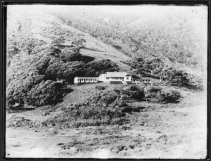 View of Le Grices boarding house, Piha