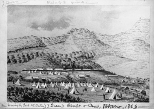 Bates, Henry Stratton, b. 1836 :Queen's Redoubt and camp, Pokeno, 1863. [Wellington, 1922]