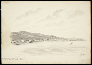 Backhouse, John Philemon, 1845-1908 :Shortland, Thames goldfield in Decr 1868, from the road near Karaka Creek. 24.5.[18]71.