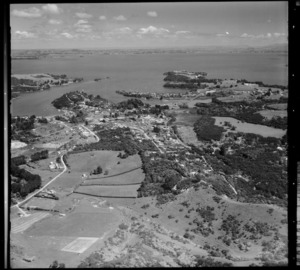 View of Ostend and Putiki Bay, Waiheke Island, Auckland, New Zealand