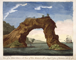 Parkinson, Sydney, 1745-1771 :View of an arched rock on the coast of New Zealand with an hippa, or place of retreat, on the top of it. S. Parkinson del; J. Newton sc. London, 1784. Plate XXIV.