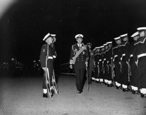 The Duke of Edinburgh inspecting naval troops, Wellington