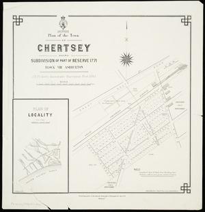 Plan of the town of Chertsey : being subdivision of part of Reserve 1771, Block VIII, Ashburton / J.E. Pickett, assistant surveyor, Nov. 1883 ; J. Kelly delt..