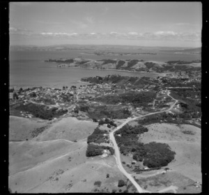 Aerial view of Surfdale, Waiheke Island, New Zealand