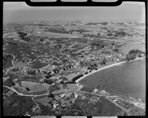Aerial view of Surfdale, Waiheke Island, New Zealamd