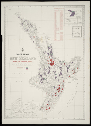 North Island (Te Ika-a-Māui), New Zealand showing land transactions 1911-12 [cartographic material]. South Island (Te Wai-Pounamu), New Zealand showing land transactions 1911-12.