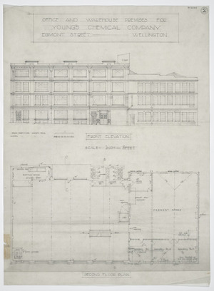 Haughton & McKeon :Office and warehouse premises for Young's Chemical Company, Egmont Street, Wellington. Second floor plan and front elevation. [1951]