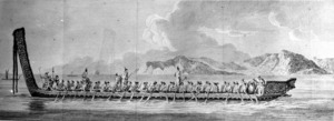 Parkinson, Sydney, 1745-1771 :A war canoe of New Zealand, with a view of Gable End Foreland [ca April 1770]. Plate 16 [1773]
