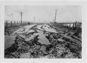 Road damaged by the 1931 Hawke's Bay earthquake, Napier