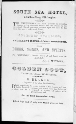 Page from Bull's Wellington Almanack and mercantile directory of 1866, with advertisements for the South Sea Hotel, and for the Golden Boot shoe store, both on Lambton Quay, Wellington