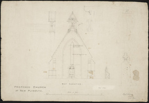 Thatcher, Frederick, 1814-1890 :Proposed church at New Plymouth. West elevation. Fred.k Thatcher, Architect, Dec.r 1844