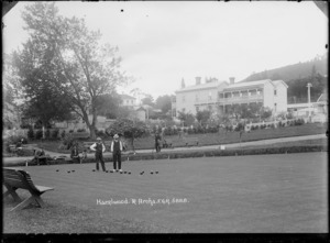 Bowling green in front of Hazelwood, Te Aroha