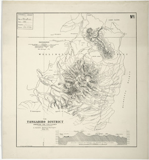 The Tongariro district shewing the volcanoes [cartographic material] / L. Cussen, District Surveyor, May 1891 ; drawn by W. Deverell.