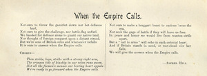 Hill, Alfred Francis, 1870-1960 :When the Empire calls. [Words of song]. 1900.